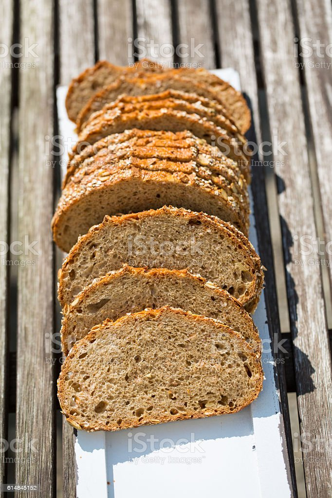 bread on wooden background stock photo