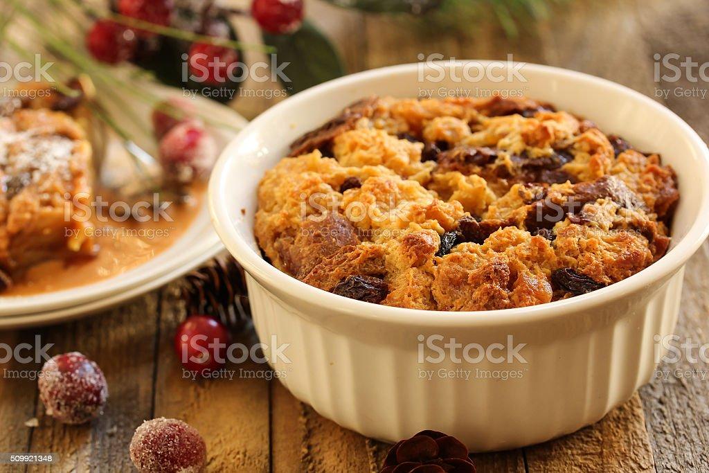 Bread Pudding Christmas dessert stock photo