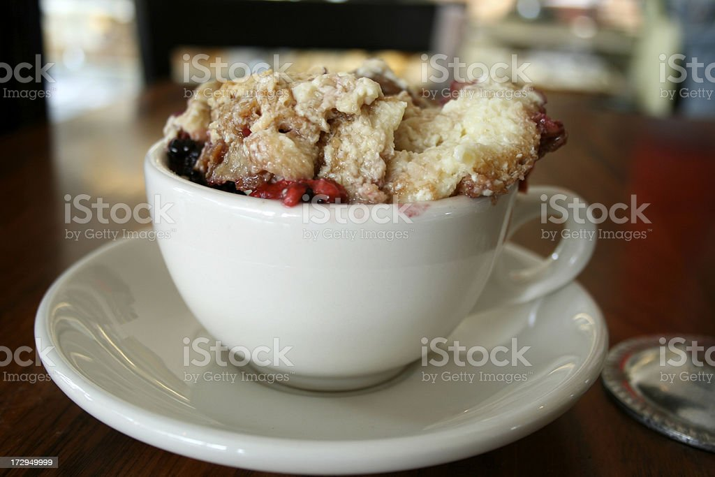 Bread pudding in coffee cup stock photo