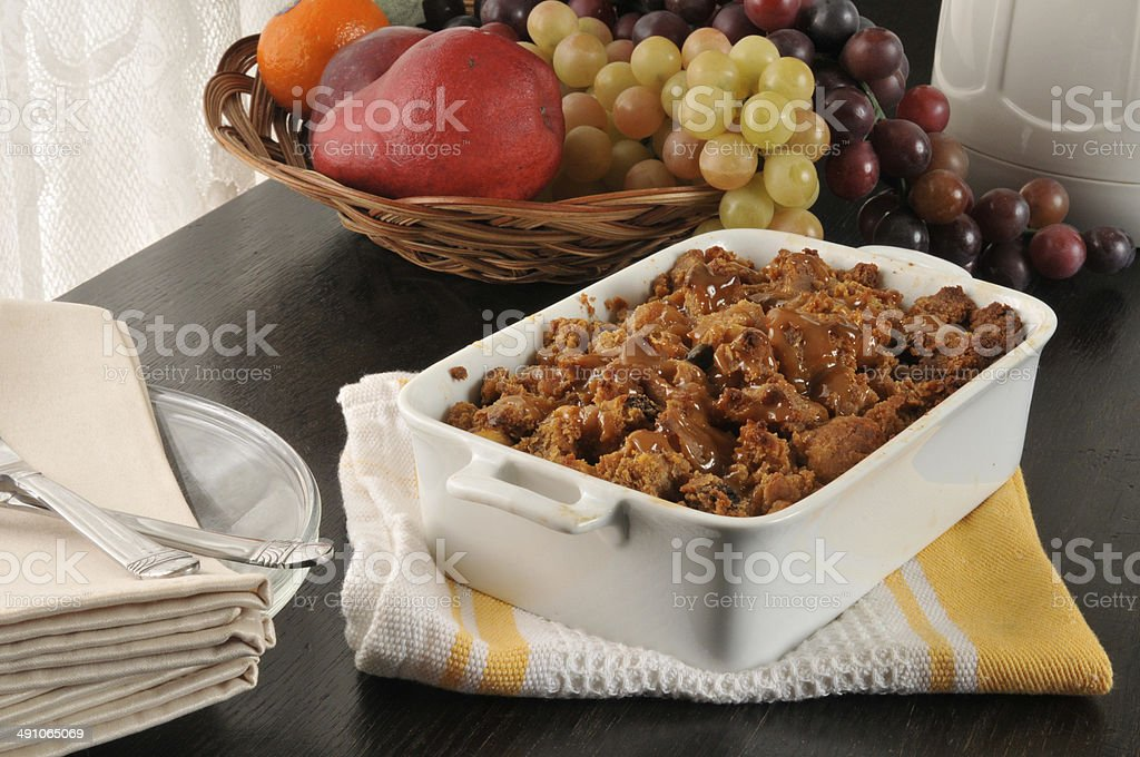Bread pudding with butterscotch caramel sauce stock photo