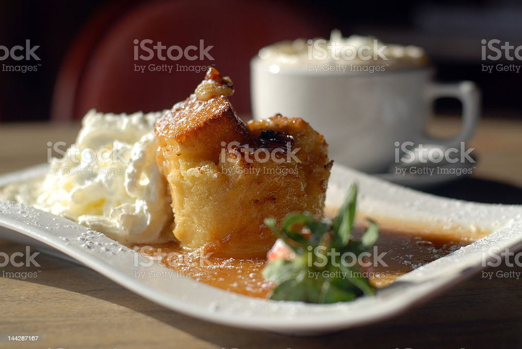 Bread Pudding with Coffee stock photo