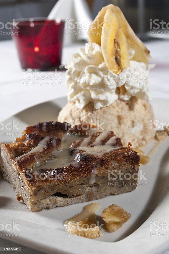 bread pudding with ice cream stock photo