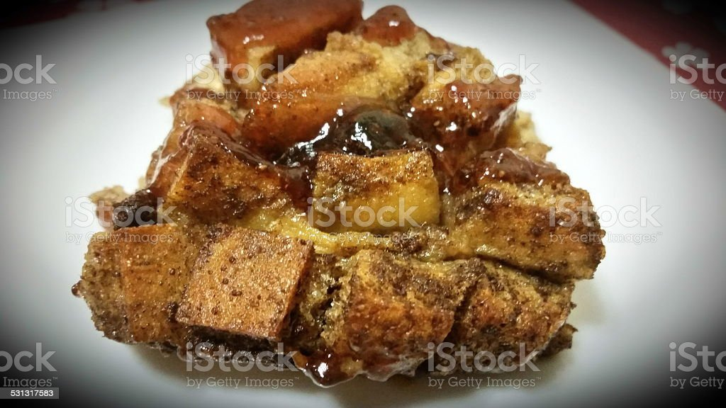Bread Pudding with Strawberry jam and raisins stock photo