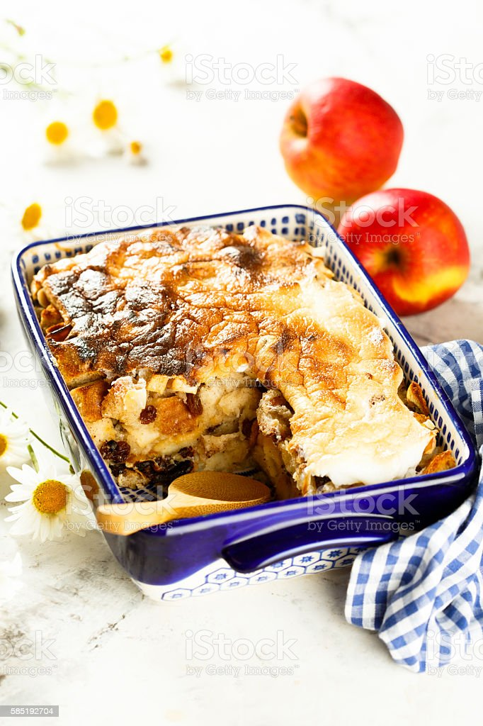 Bread puddings with apples stock photo