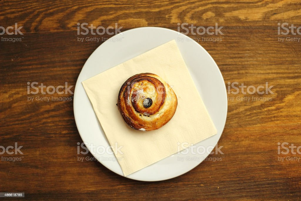 Bread Roll with raisins and cottage cheese filling stock photo