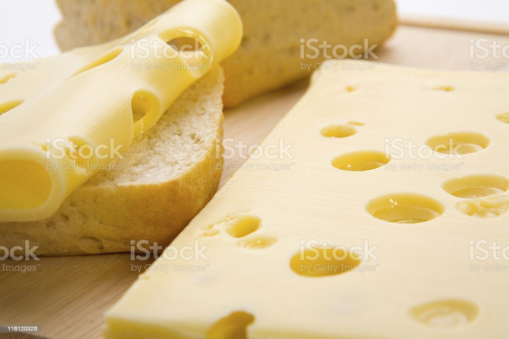 Bread rolls and slices of cheese stock photo