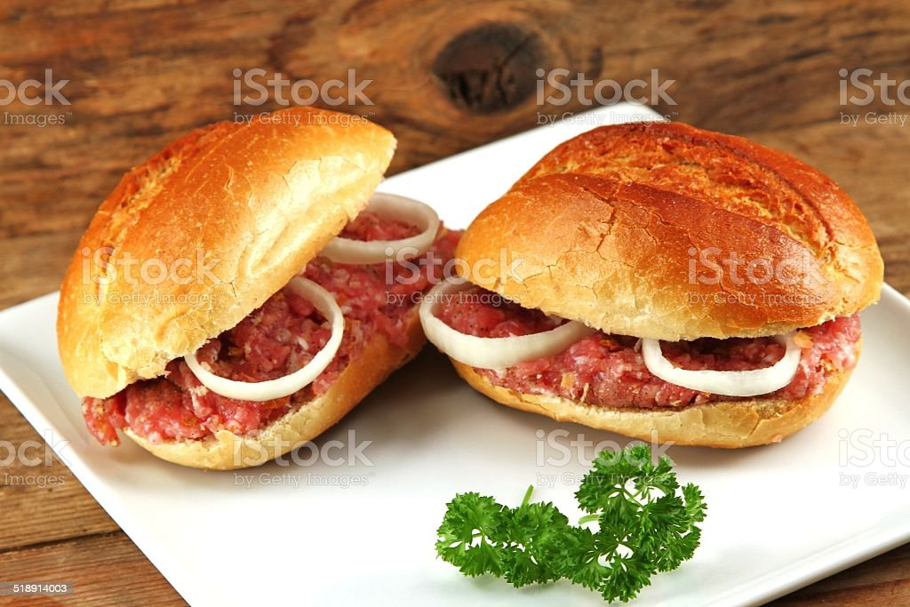 bread rolls with minced meat stock photo