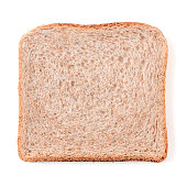 Bread slice isolated on white, clipping path. Slice of multigrain bread square form for toast. Image of one slice wholegrain bread, top view or flat lay.