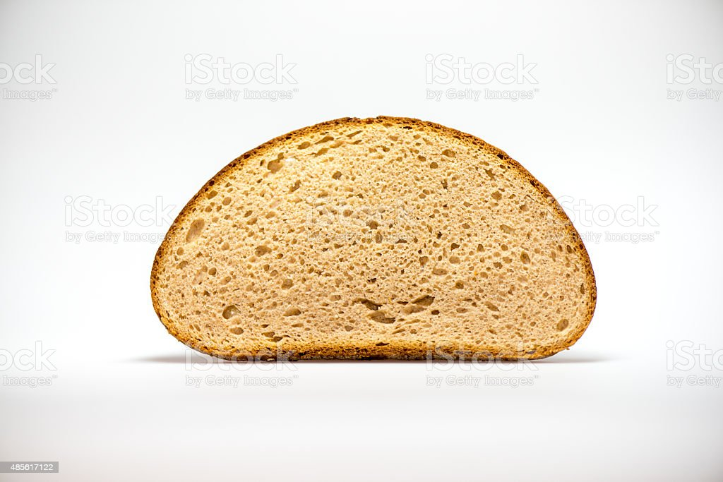 bread slice on white stock photo