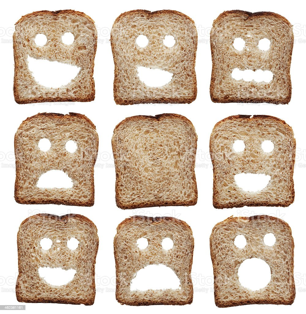 Bread slices with facial expressions stock photo