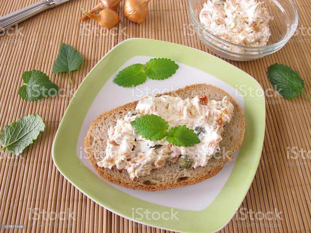 Bread spread with tuna and cream cheese stock photo