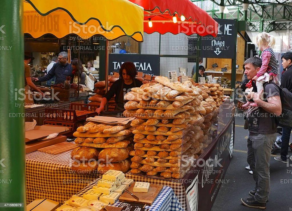 Bread stall at Borough Market, Southwark, London royalty-free stock photo