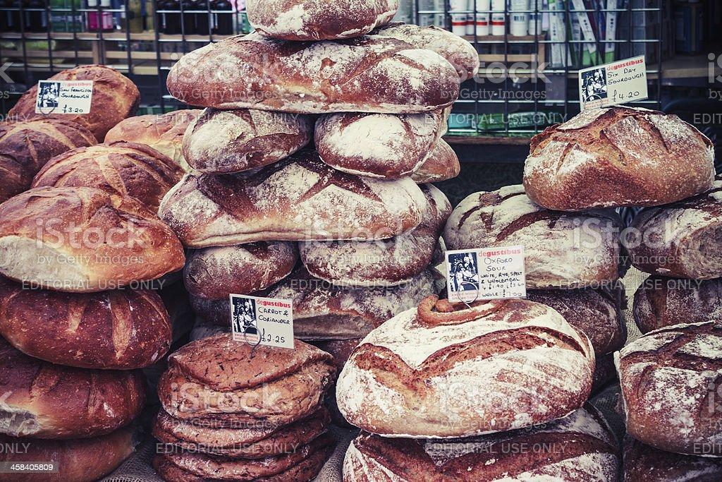 Bread stall, Broadway Market, London royalty-free stock photo