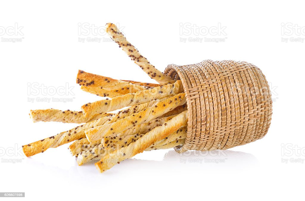 bread stick with sesame on white background stock photo