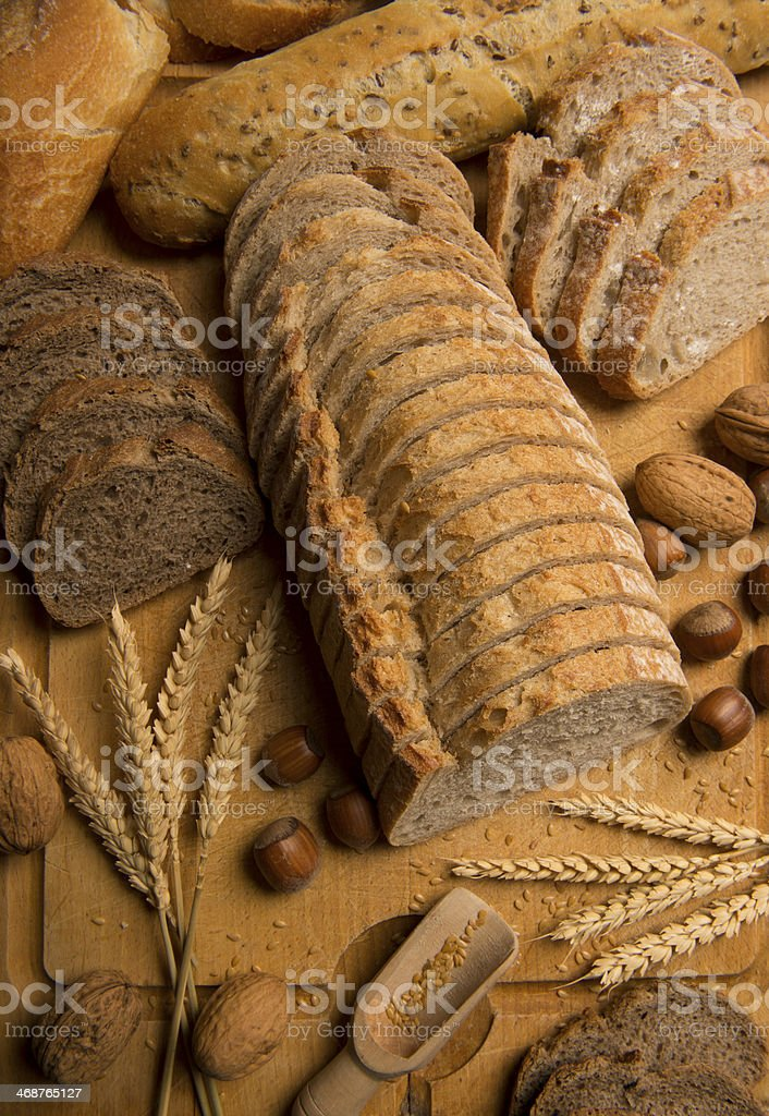 Bread Stills: Variety-Bread cut into slices stock photo