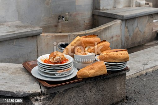 Wasted bread on the restaurant plate. Bread is top of the list of our most wasted resyaurant and hotel food items.