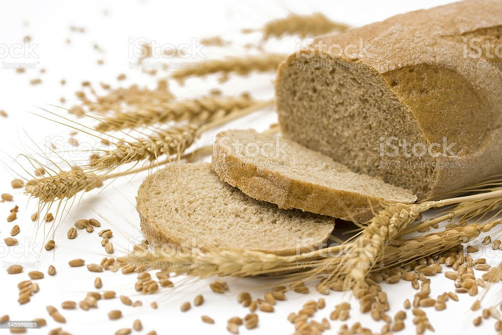 bread, wheat, and grain seeds royalty-free stock photo