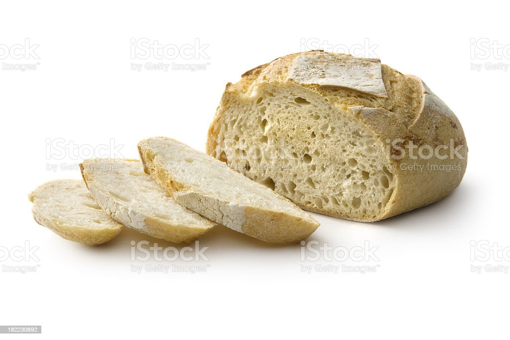 Bread: White Bread Isolated on White Background stock photo