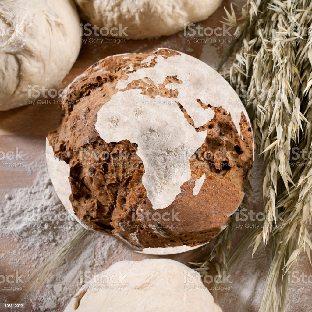 Bread with african map stock photo