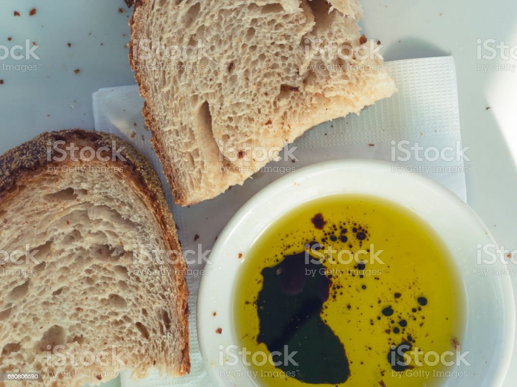 Bread with balsamic vinegar and olive oil. stock photo
