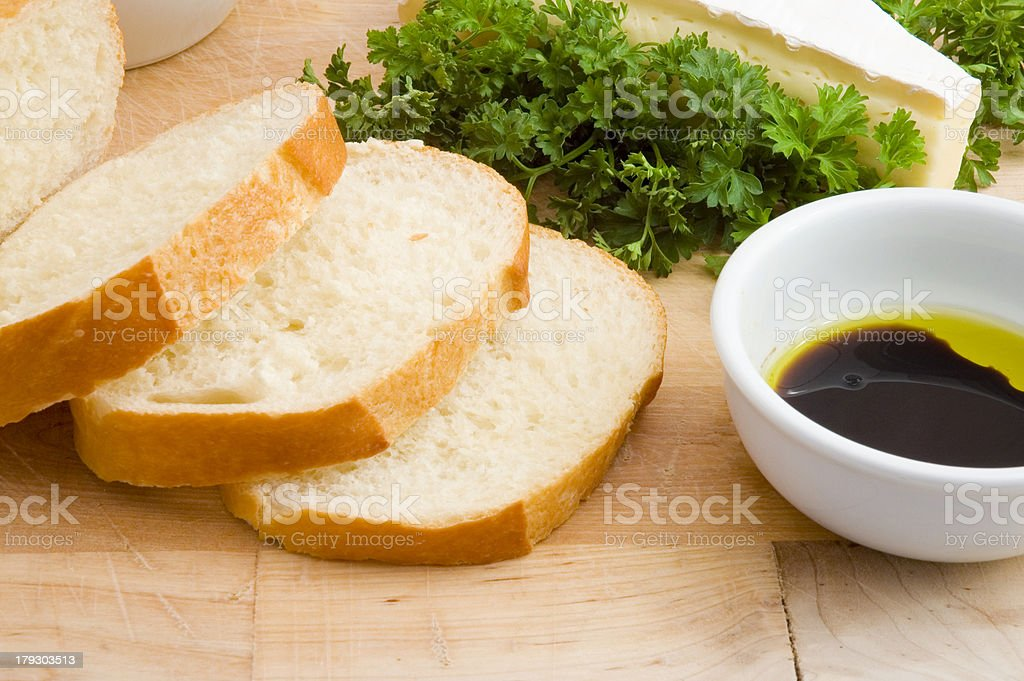 Bread with balsamic vinegar, olive oil and cheese royalty-free stock photo