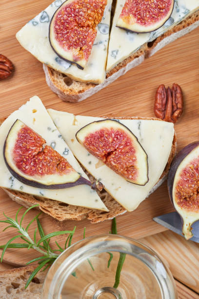 Bread with blue cheese and figs stock photo