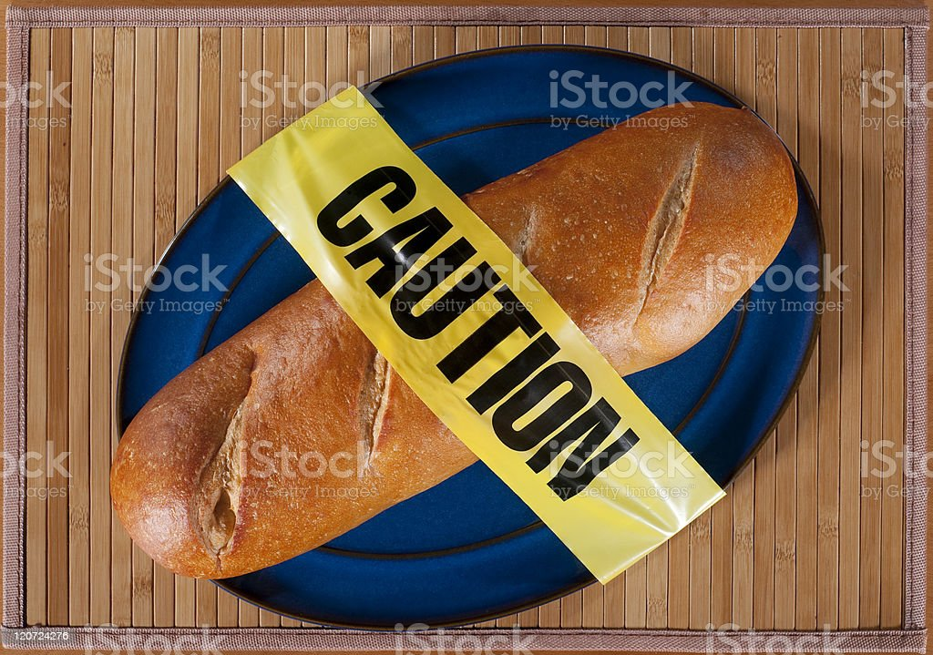 Bread with Caution Tape stock photo