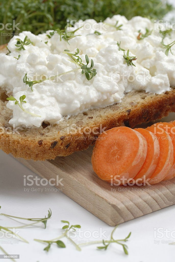Bread with cheese and carrot royalty-free stock photo