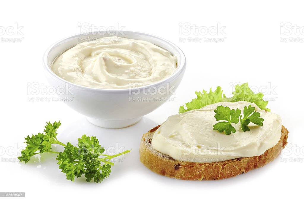 bread with cream cheese stock photo