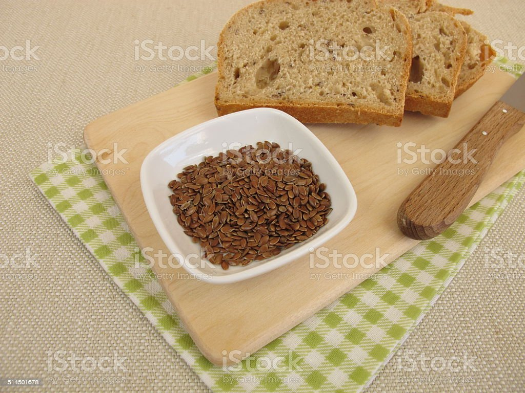 Bread with flaxseeds stock photo
