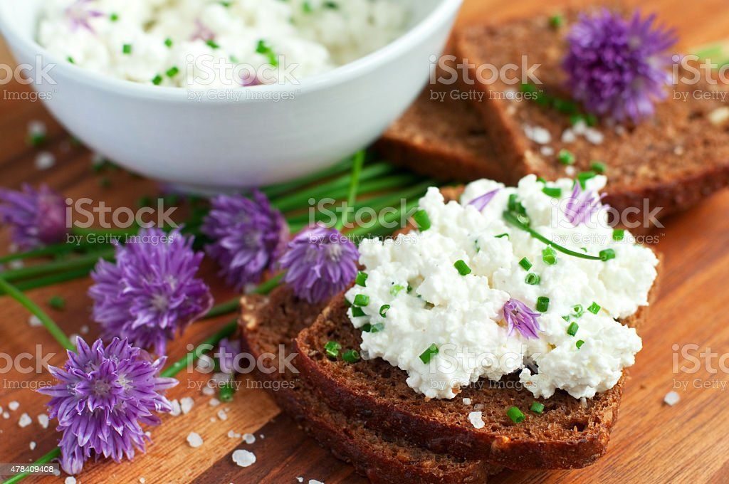 bread with fresh chives stock photo