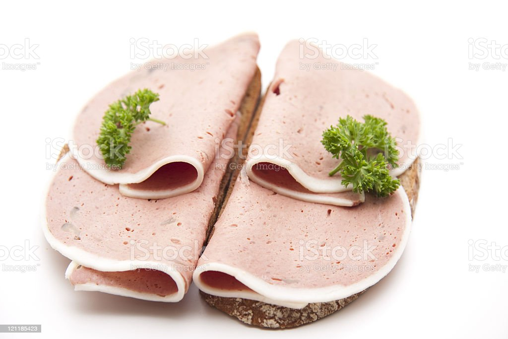 Bread with liver sausage stock photo