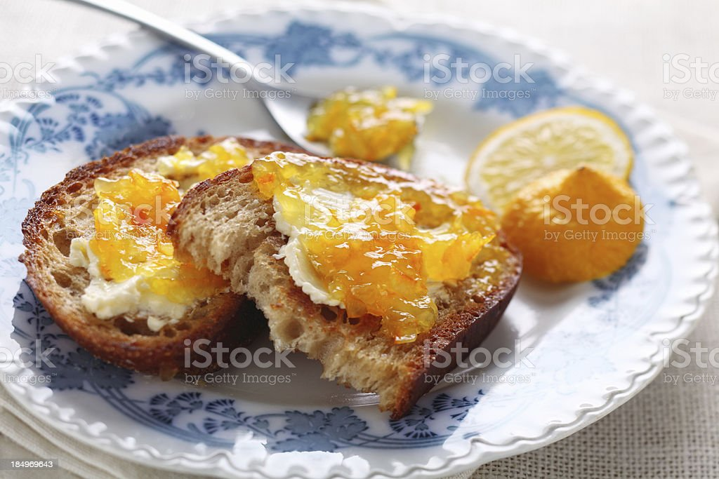 Bread with marmalade stock photo