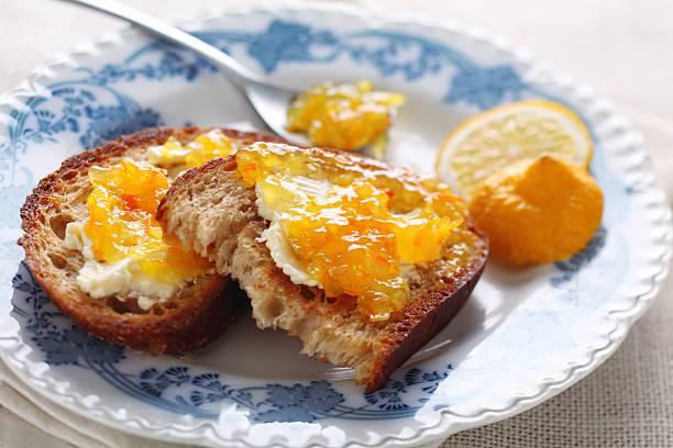 Bread with marmalade stock photo