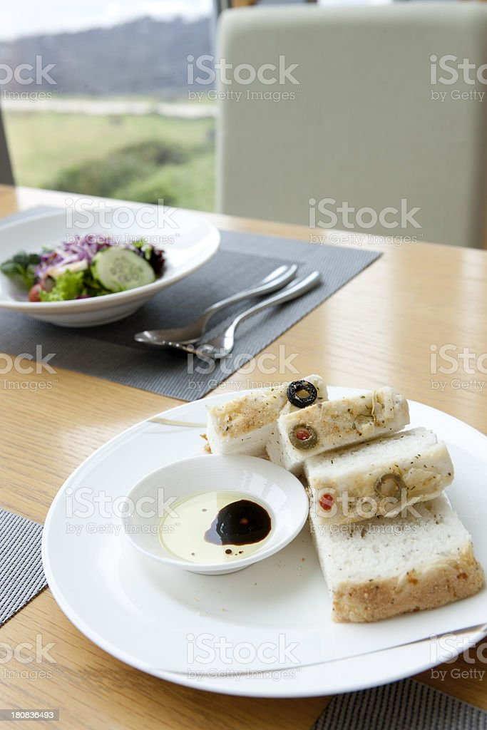 bread with Olive oil and Balsamic royalty-free stock photo