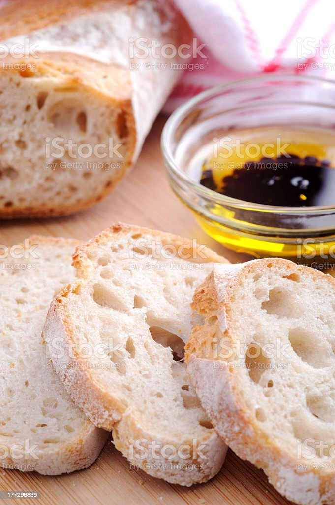 Bread with olive oil royalty-free stock photo