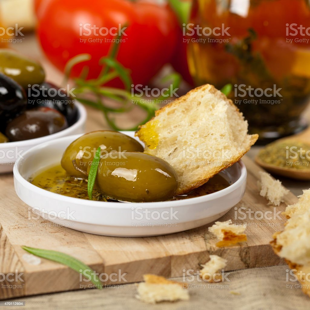 Bread with Olive Oil stock photo