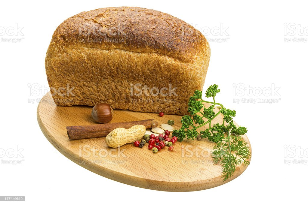 Bread with parsley and nuts royalty-free stock photo