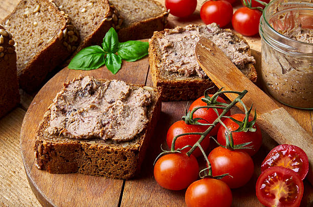 Bread with pate stock photo