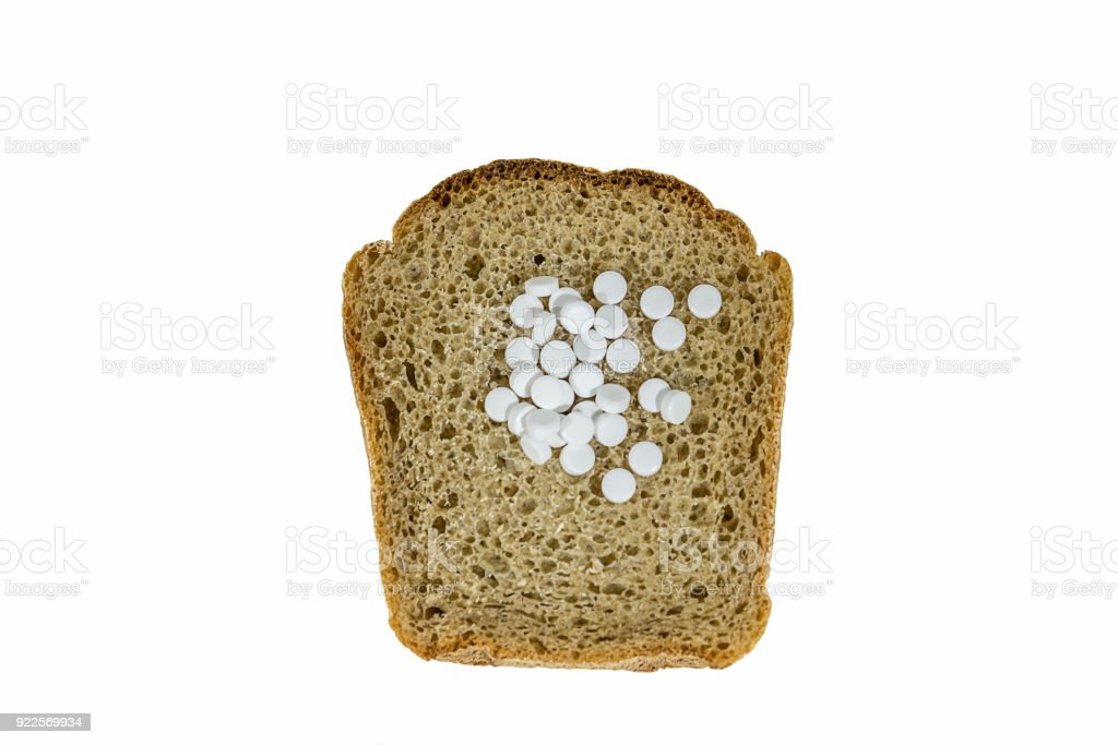 bread with pills concept stock photo
