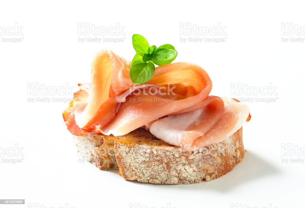 Bread with prosciutto​​​ foto