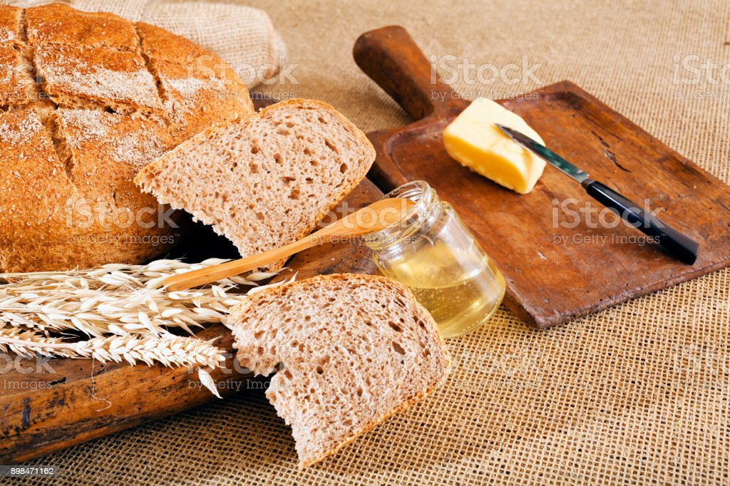 bread with seeds stock photo