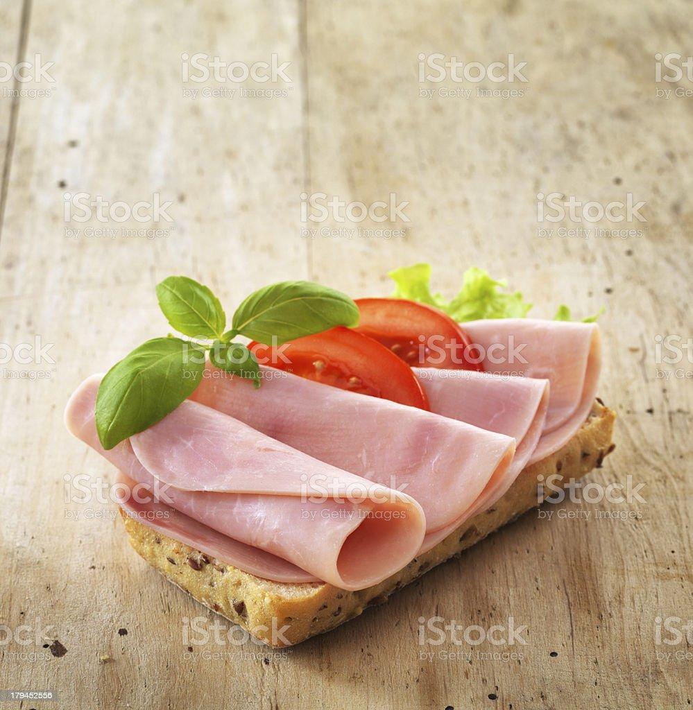 bread with sliced pork ham stock photo