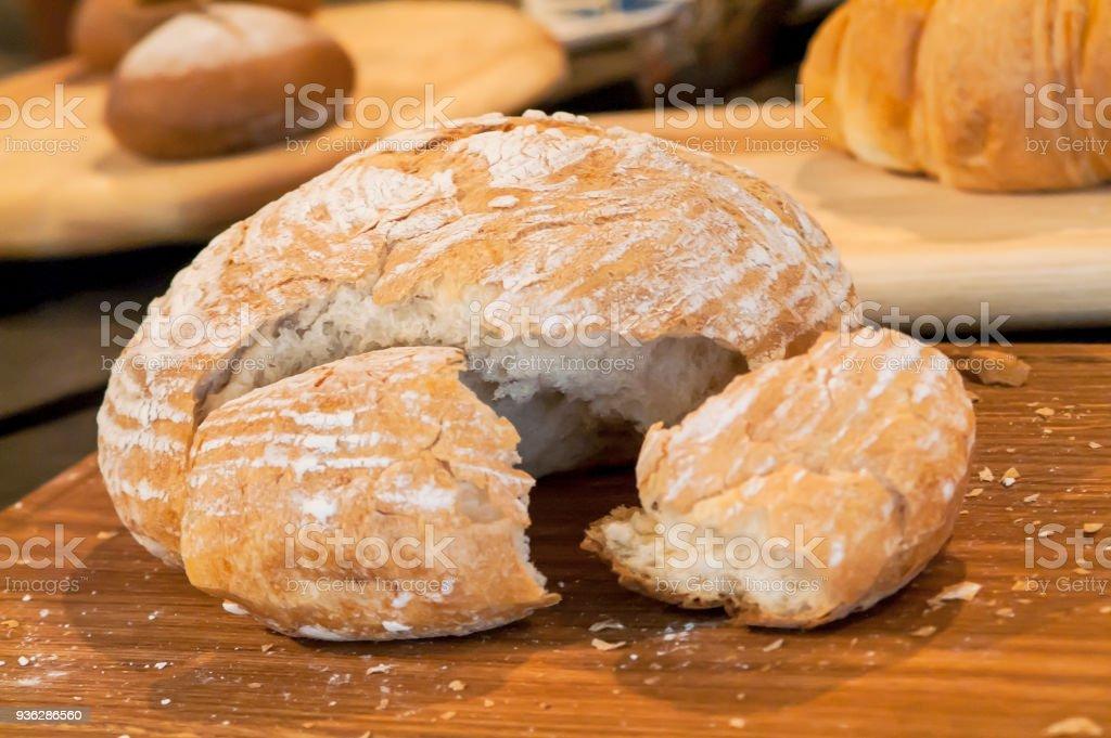 bread wooden board stock photo