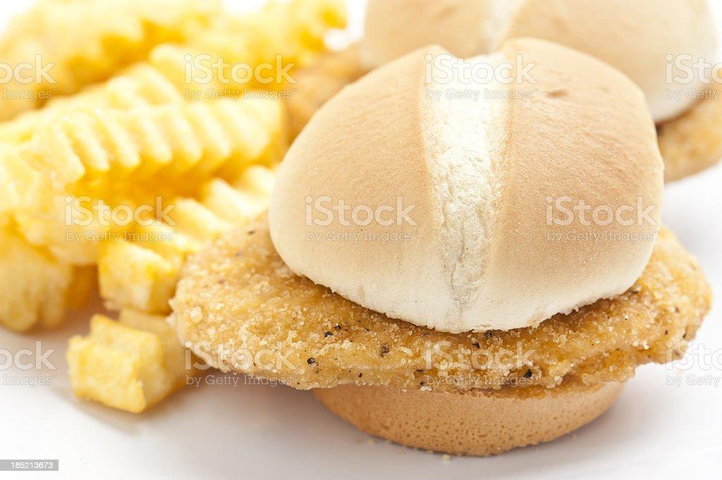 Breaded Chicken Breast Mini sadnwiches stock photo