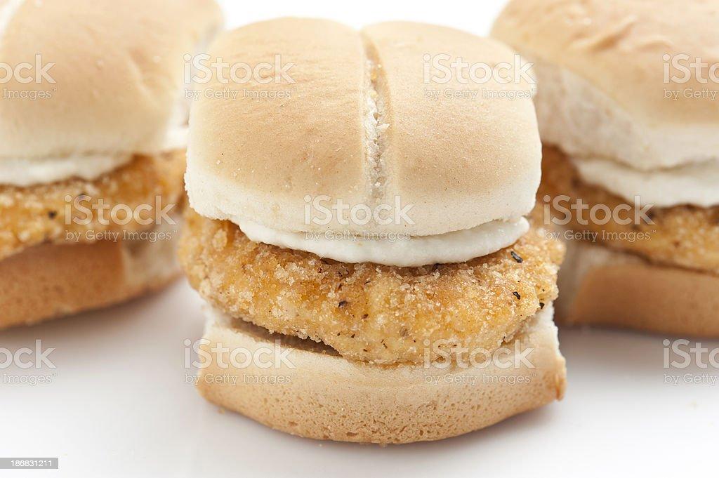 Breaded Chicken Breast Mini sandwiches stock photo