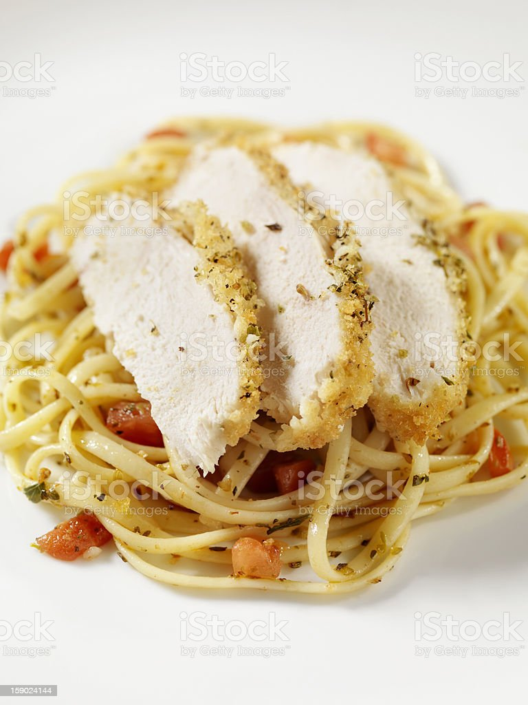 Breaded Chicken Breast with Linguine royalty-free stock photo