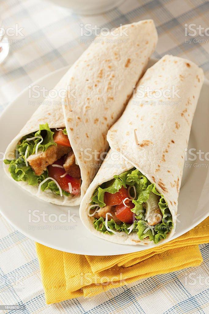 Breaded Chicken in a Tortilla Wrap stock photo