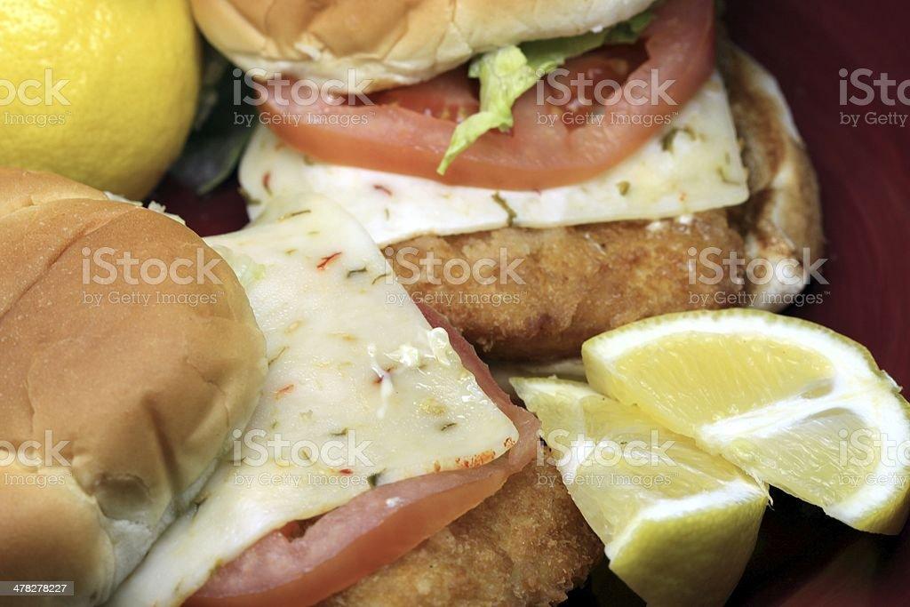 Breaded fish sandwich royalty-free stock photo