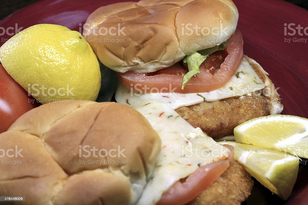 Breaded fish sandwich royalty-free stock photo